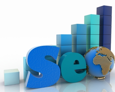 3d illustration text SEO, with globe instead of letter o on a background a diagram