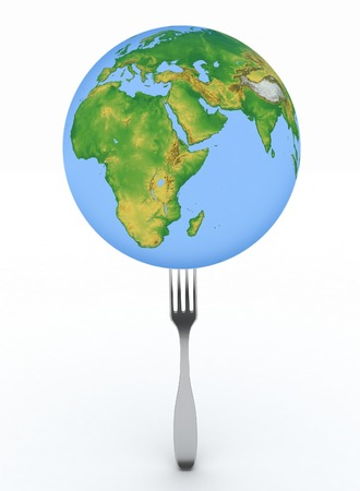 Globe instead of dinner. 3d illustration a white background  illustration
