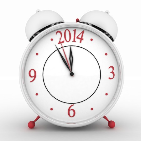 2014 year on alarm clock  3d isolated icon on white photo