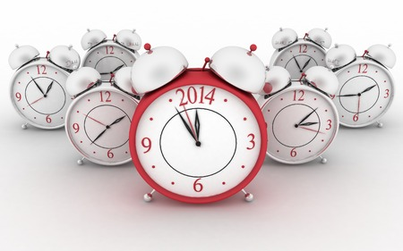 2014 year on big alarm clock  3d alarm clocks on white photo