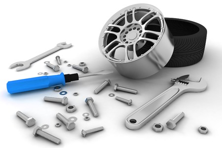 vulcanize: Wheel and Tools  Car service  Isolated 3D image