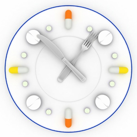 overbalance: a clock consist of the plate, pills, forks with a knife on a white 3D illustrations