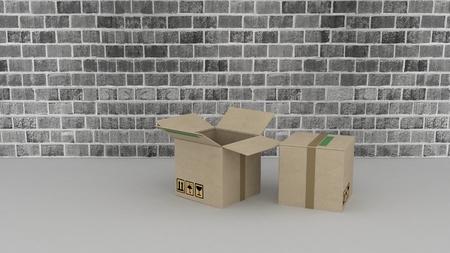 modern brick wall with cardboard boxes 免版税图像 - 24480986