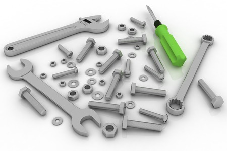 spare part: Realistic illustration of bolts, nuts and pucks of different shapes and tools on white background