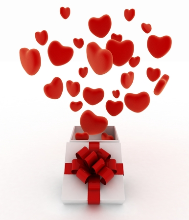 Hearts flying out of gift box  3d render illustration on white background illustration