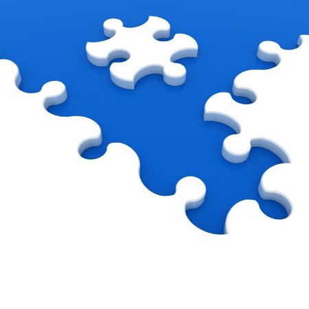 White puzzle on blue background  Isolated 3D image photo