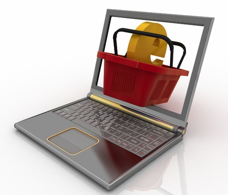 e commerce icon: Basket of visit of shop with e-commerce sign in a notebook  Concept of purchases of commodities in the Internet in the whole world  3d illustration  Stock Photo