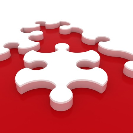 White puzzle on red background  Isolated 3D image photo