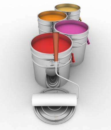 3d  illustration of open buckets with a paint and roller illustration