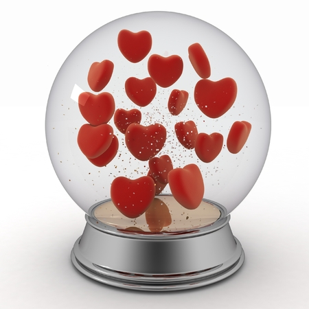 Snow globe with red hearts on white  photo