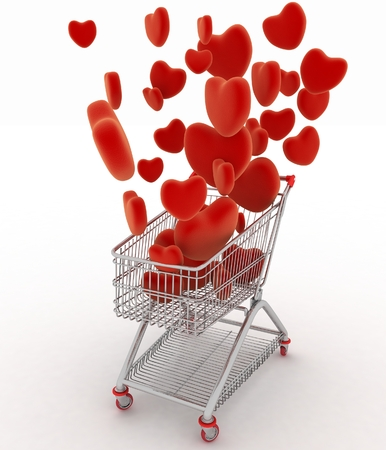 Hearts flying in supermarket trolley  3d render illustration on white  illustration
