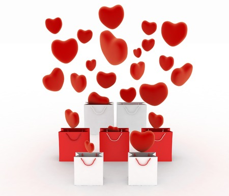 hearts falling into gift bags  3d render illustration on white  illustration