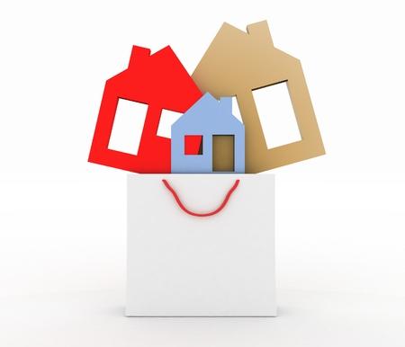 lak�hely: 3d modell ház szimbólum készlet egy papír bevásárló táska Stock fotó