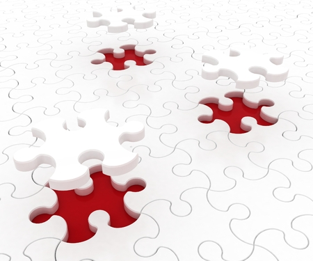 White puzzle on red background  Isolated 3D image