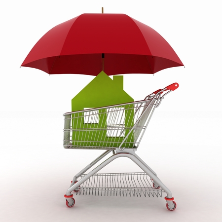 Conception of defence of the real estate for sale  3d illustration of light shopping cart, icon of house and umbrella