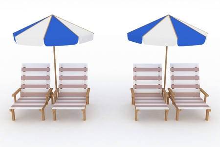 reclining: Deckchair and parasol on white background  Isolated 3D image  Stock Photo