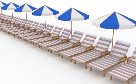reclining: row from many deck-chairs with parasols on a white background