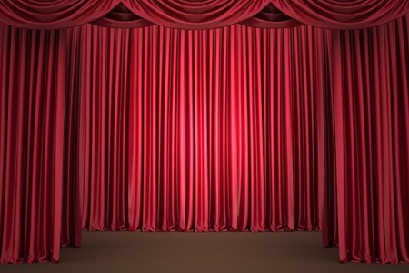 Red theater curtain, background photo