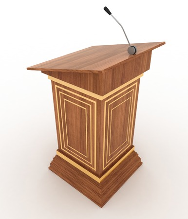 preacher: Podium and microphone. 3d illustration isolated on white