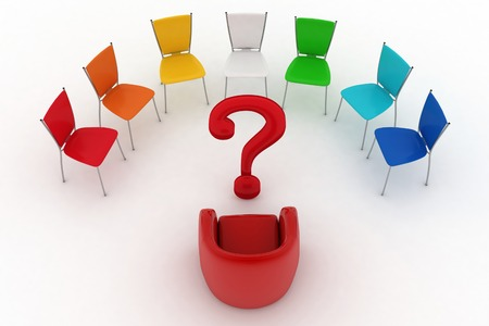 Arm-chair of chief and multicolored office chairs are put by a half-round with question-mark in a center photo