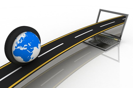 moves: Globe inside the tire of the wheel that moves on the way, coming out of a laptop screen Stock Photo