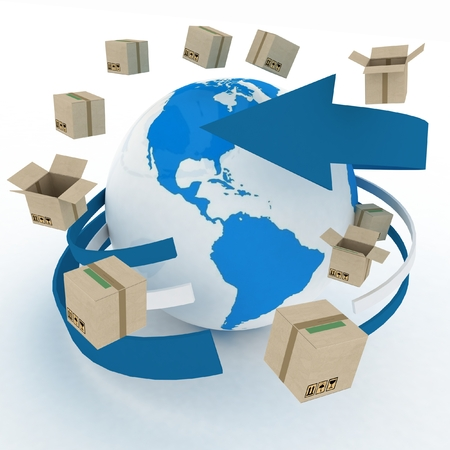 3d cardboard boxes around globe on white. Worldwide shipping concept. photo