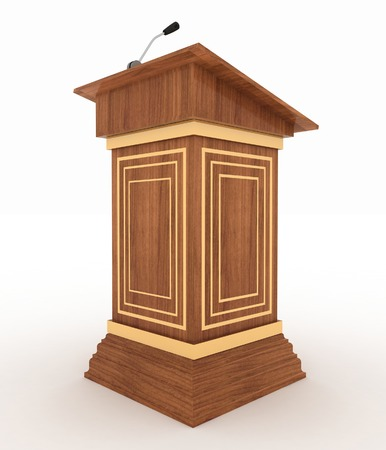 rostrum: Podium and microphone. 3d illustration isolated on white