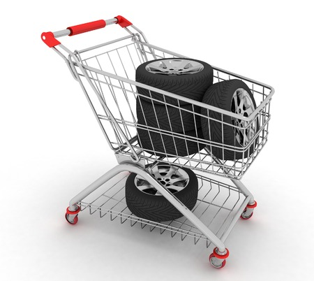 3D Shopping cart with wheels. Conception of purchase of repair parts for a car photo