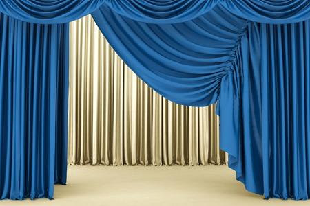 Open blue theater curtain photo