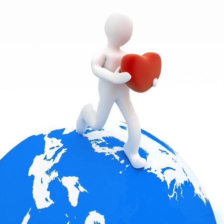 3d man holding heart in his hands and running on the globe photo