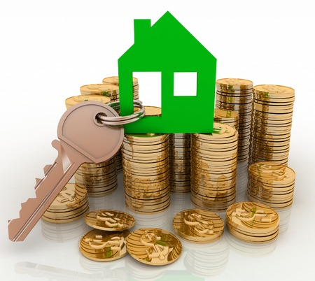 3d house symbol with key on Pile of gold coins  Conception of growth of mortgage credit photo