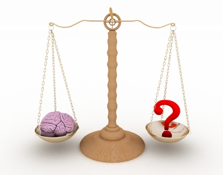 weigher: On one side of the scale the brain to another question-mark