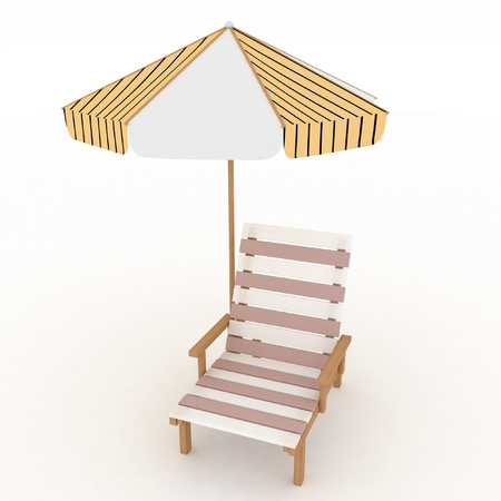 Deckchair and parasol on white background  Isolated 3D image photo