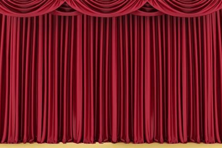 Red closed theater curtain, background