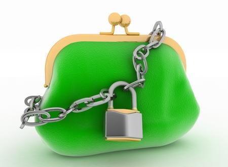 locked up: Locked up green purse  3d render illustration on white background