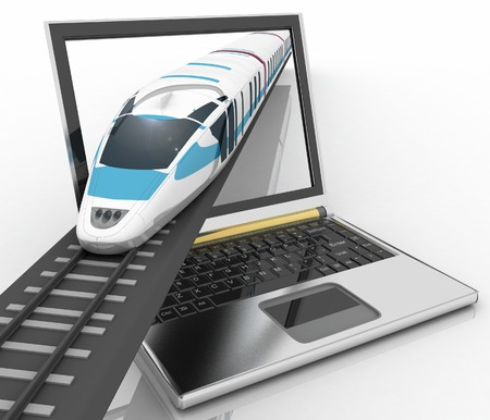 Train coming out of a laptop  3d render illustration