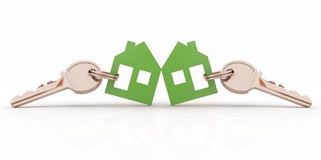 3d model house symbol set with keys photo
