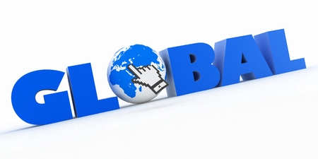 3d illustration of word with a globe and mouse cursor on a white background illustration