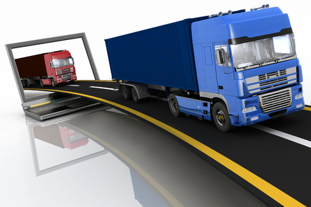 move controller: Trucks on freeway coming out of a laptop