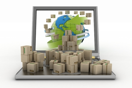Cardboard boxes around the globe on a laptop screen concept of online goods orders worldwide photo