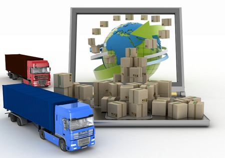 oncept: Cardboard boxes around the globe on a laptop screen and two trucks  �oncept of online goods orders worldwide