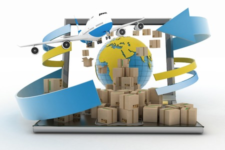 Cardboard boxes around the globe on a laptop screen and airplane  Concept of online goods orders worldwide Standard-Bild