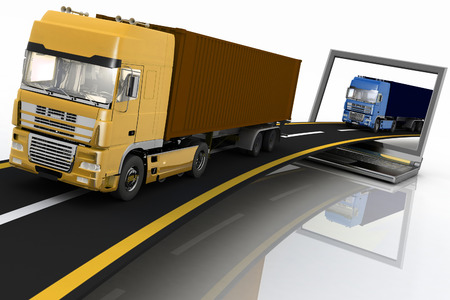 move controller: Trucks on freeway coming out of a laptop  3d render illustration  Concept of logistics, delivery and transporting by freight motor transport