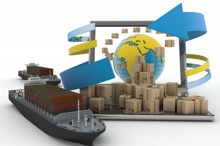 Cardboard boxes around the globe on a laptop screen and two cargo ships  Concept of online goods orders worldwide 免版税图像