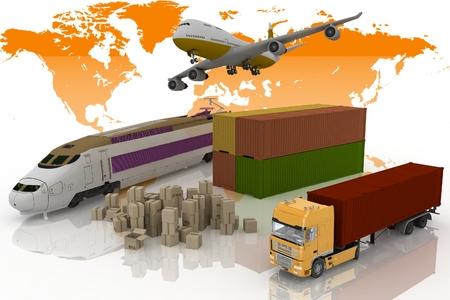 輸送の輸送のタイプは白い背景の上の負荷の 3 d イラストレーションです。