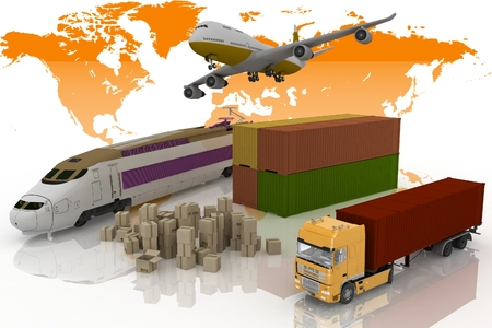 land transport: types of transport of transporting are loads  3d illustration on a white background
