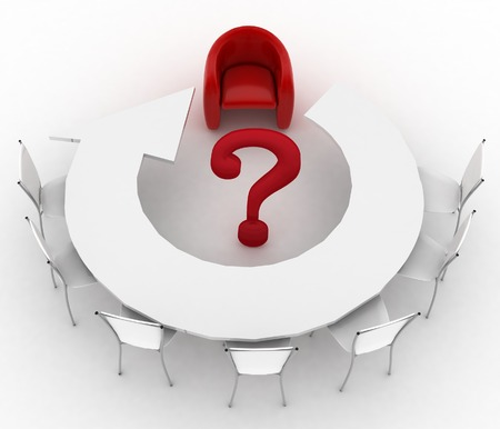 Arm-chair of chief and group of office chairs at a table as an arrow are put by a half-round with question-mark in a center photo