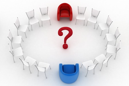 Two arm-chairs of chief and group of white office chairs with question-mark in a center photo