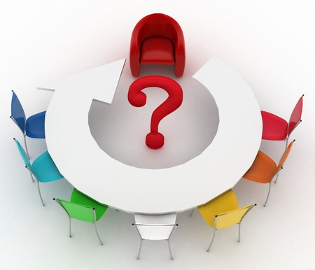 Arm-chair of chief and group of multicolored office chairs at a table as an arrow are put by a half-round with question-mark in a center photo
