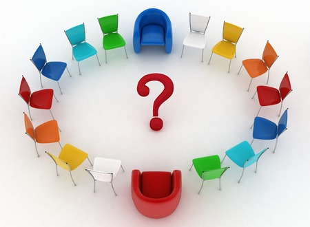 Two arm-chairs of chief and group of multicolored office chairs with question-mark in a center photo
